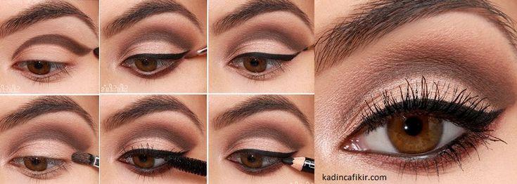 Kahverengi ve sedefli far ile uyumlu eyeliner sürme tekniği   Kadınca Fikir