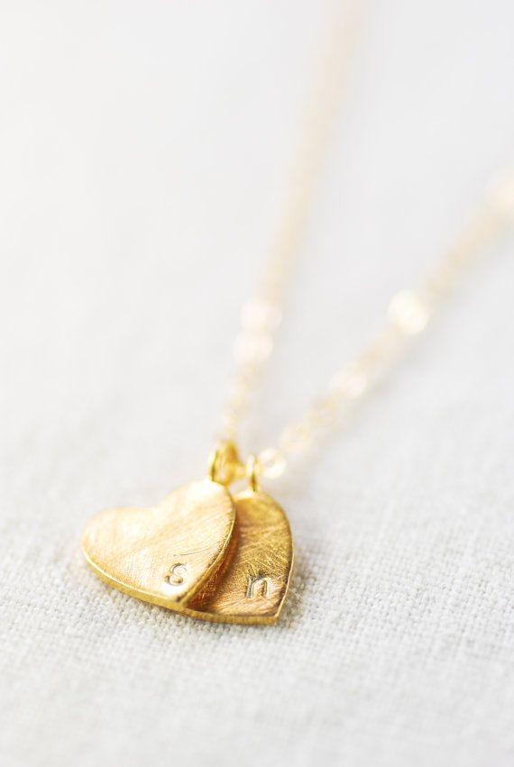 Kuuipo necklace - gold monogram necklace, two initial heart necklace, personalized, hand stamped necklace, custom necklace, mom jewelry gift...