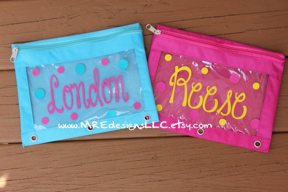 SHIP within 2 days Personalized Pencil Zipper Pouch for Binder Back To School LIMITED SUPPLY Boy or Girl on Etsy, $8.00