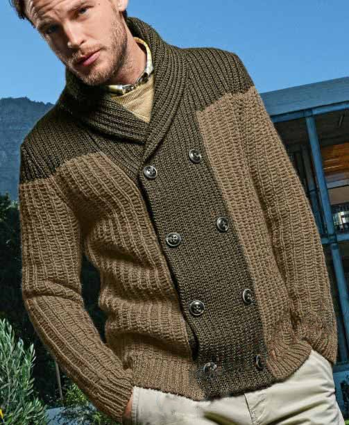 Men's hand knitted cardigan turtleneck sweater cardigan men clothing wool handmade men's knitting aran cabled crewneck