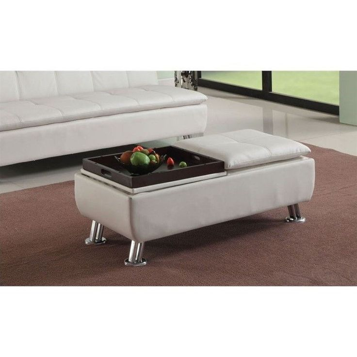 ACME Furniture Derrick Faux Leather Ottoman With Storage In White Part 87