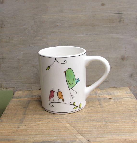 SALE green bird coffee mug gift for the bird by catherinereece, $18.50