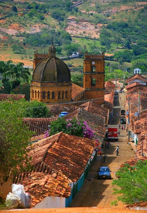 "Beautiful Spanish-Colonial style ""Church of the Immaculate Conception"" in Barichara, Colombia.(back view)"