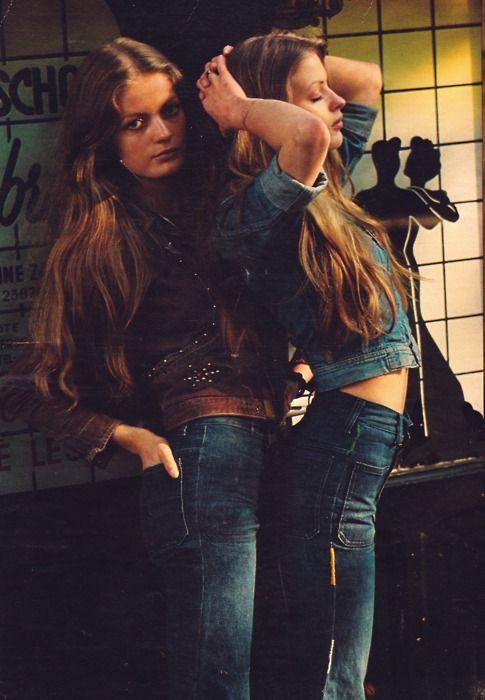 Girls in '70s denim fashion