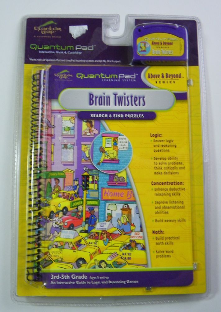Quantum Pad Learning System: Brain Twisters Interactive Book and Cartridge NIP #LeapFrog
