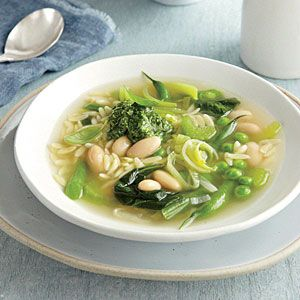 Green Vegetable Soup with Lemon-Basil Pesto | MyRecipes.com: Green ...