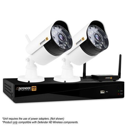Defender® Wireless HD 1080p 4 Channel 1TB DVR Security System with 2 Bullet Cameras, White
