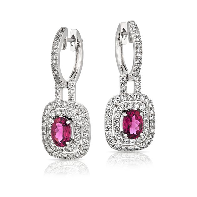 18ct White Gold Oval Tourmaline Earring