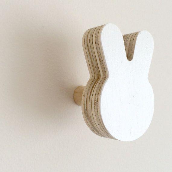 Bunny Wall Hook  White by helloknobbly on Etsy