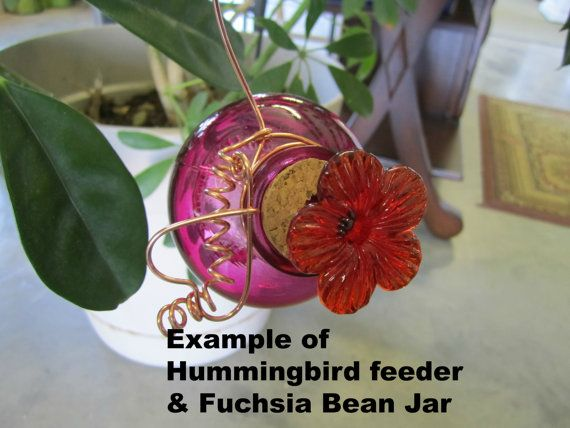 Use coupon code: PIN10 for 10% off! Double #hummingbird #feeder, you receive one (1) fuchsia glass jar and one (1) amber glass jar. Comes with your choice of wire, you can choose from wire heart, daisy or bell ... #decorative