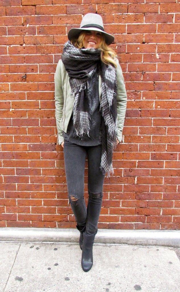 scarf + denim + boots.