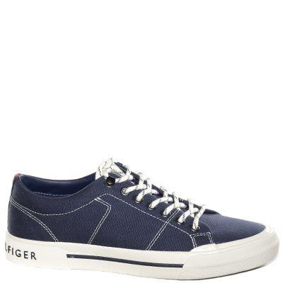#Sneaker bassa in caviglia in tessuto blu