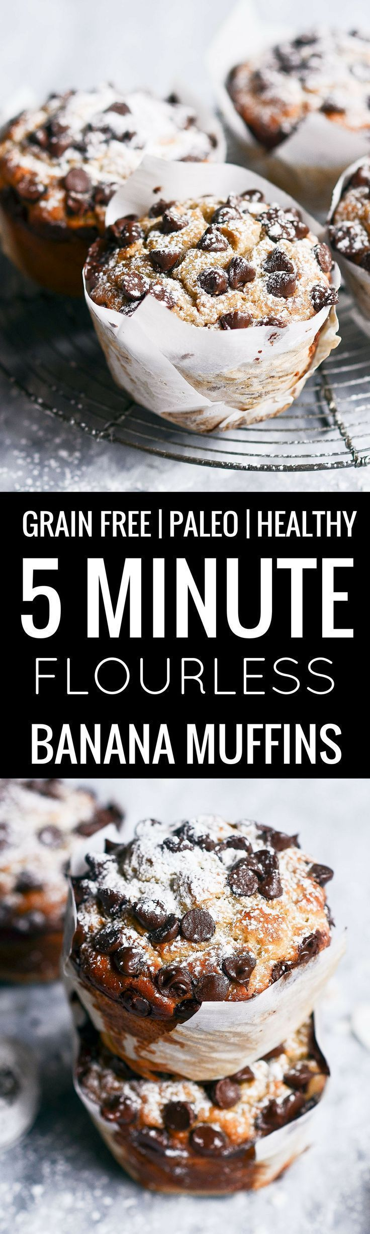 paleo banana muffins made in 5 minutes! Incredibly soft and fluffy muffins that are healthy and gluten free.