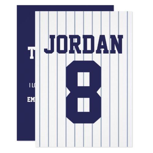 Baseball Jersey - Sports Theme Party Thank You Card