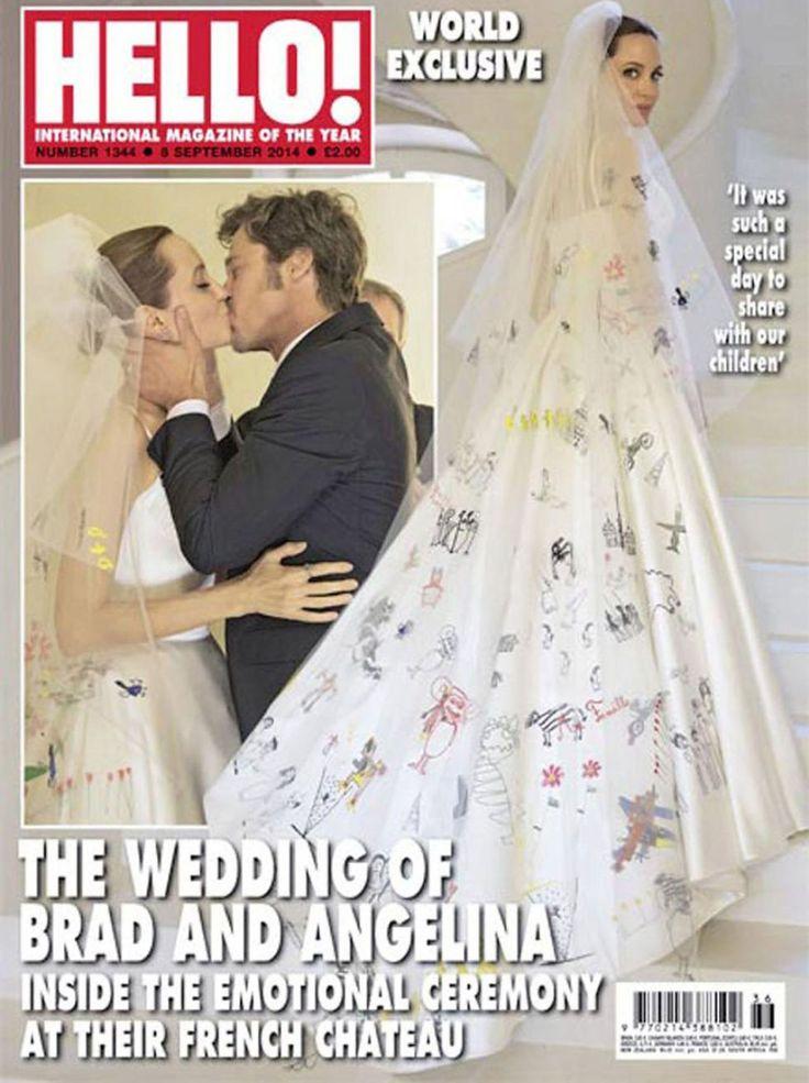 Angelina Jolie married Brad Pitt in Atelier Versace, 2014.