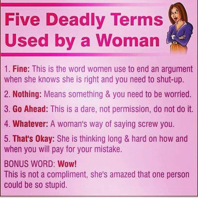 Five deadly terms women use