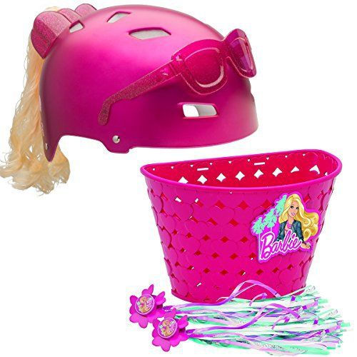 """This headgear has all the safety features you expect from a Bell helmet with a fun Barbie-inspired look. Add in the heart-weave basket & handle streamers, and both bike & rider are ready to set off in style.       Famous Words of Inspiration...""""When the solution is... more details available at https://perfect-gifts.bestselleroutlets.com/gifts-for-babies/kids-bikes-accessories/product-review-for-bell-sports-barbie-bike-set-helmet-basket-streamers-b"""