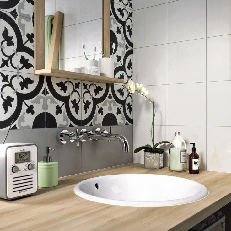 Carreau de ciment Belle époque décor suzon gris, noir et blanc, l.20 x L.20 cm #leroymerlin #carreauxdeciment #carrelage #mur #salledebain #ideedeco #madecoamoi