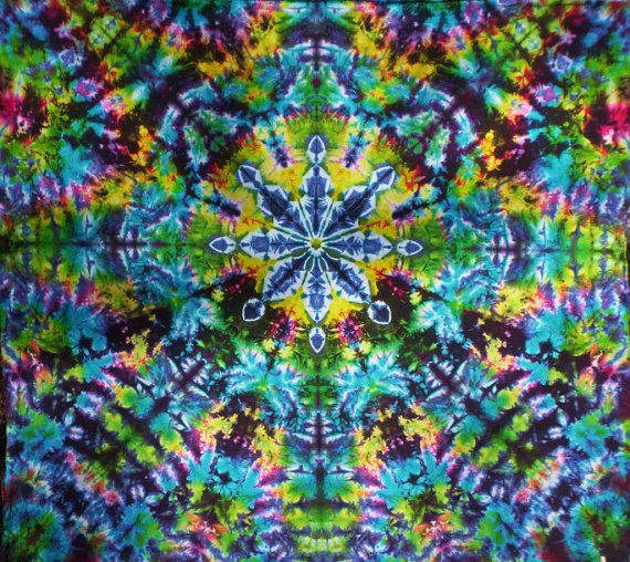 "Customizable Stained Glass Kaleidoscope - Tie Dye Tapestry - Wall Hanging - Size... 63""W  X 58""H - Made to Order / Customizable"