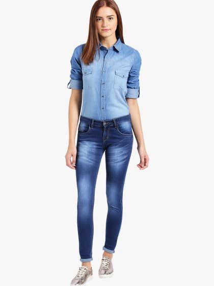 53a868566c278 Buy Denim Washed Blue Jeans Shirt for Women