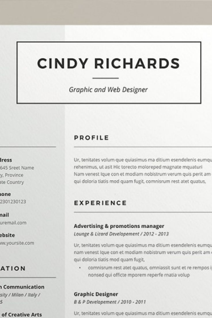 Resume Cindy (2 pages) Downloadable resume template