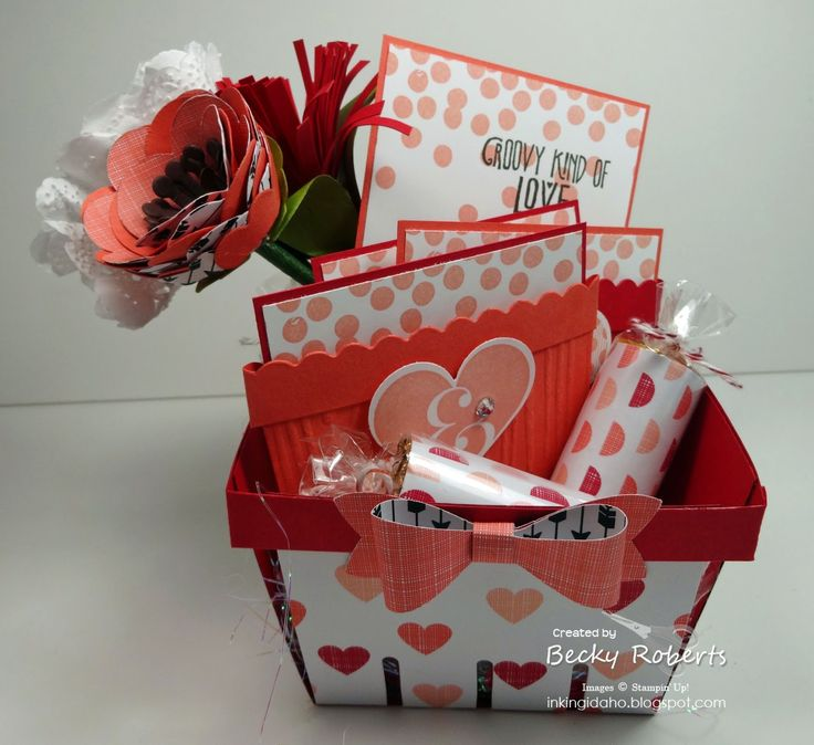 Groovy Love Valentines - My January Gift To You! Tutorial available. Stampin' Up! Berry Basket Die, Groovy Love Stamp Set, Occasions Catalog 2015