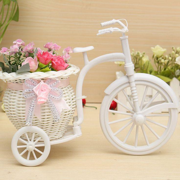 Oficina Decoración moderna con estilo de la rota de la bici triciclo cesta de la flor del banquete de boda del jardín de almacenamiento florero dormitorio Holding regalo del caramelo