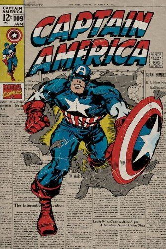 Captain America Poster, 61cm x 91.5cm Featuring The Cover Art Work From A Retro Edition Of The Superhero's Action Packed Comic Strip Adventures PopArtUK http://www.amazon.co.uk/dp/B004WJVUYA/ref=cm_sw_r_pi_dp_oxIUtb1KSNM7AVJN
