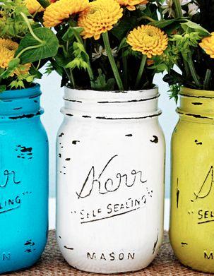 DIY Painted Mason Jars, super easy... arcylic paint, nail file, and mason jars