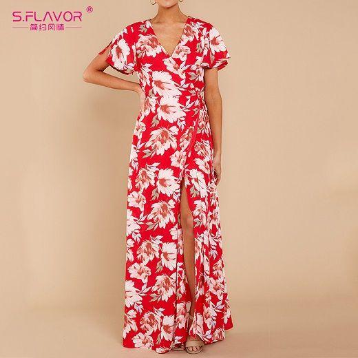 Short sleeve side split long dress summer vneck beach dresses bohemian women printing party vestidos de