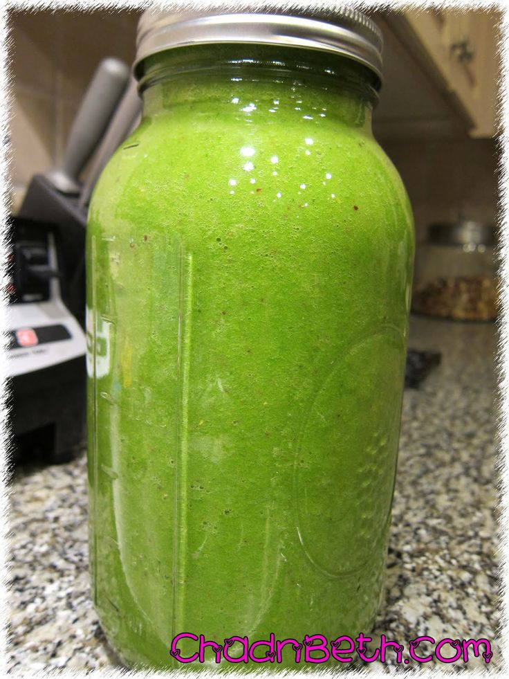 """We make this a lot - it makes a big jar of smoothie. It will keep in the fridge for at least 3 days.   This """"green drink"""" is high in fiber, ..."""