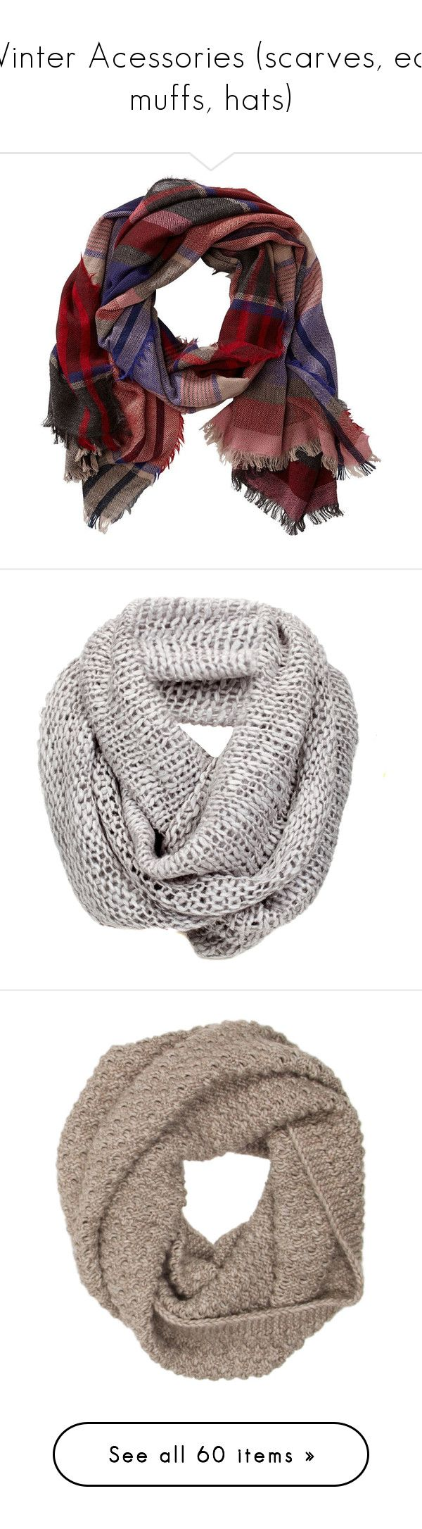 """""""Winter Acessories (scarves, ear muffs, hats)"""" by katie-1111 on Polyvore featuring accessories, scarves, red plaid, patterned scarves, print scarves, tartan plaid scarves, striped shawl, tartan plaid shawl, other and accessories - scarves"""