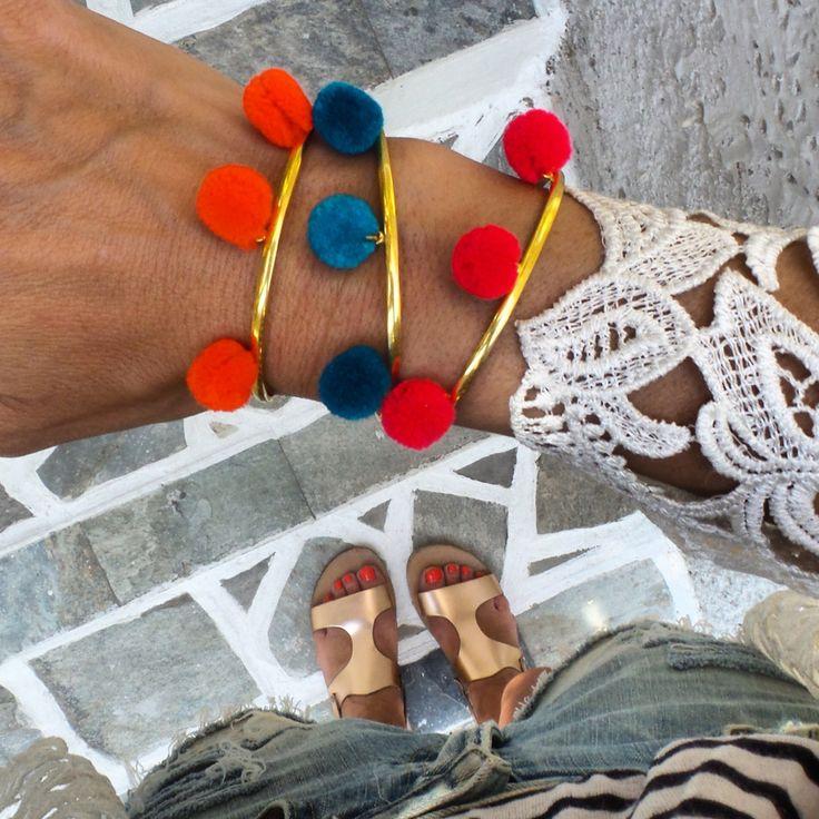 #pompom #cuff #boho #jewelry #herminawristwear #annamavridis