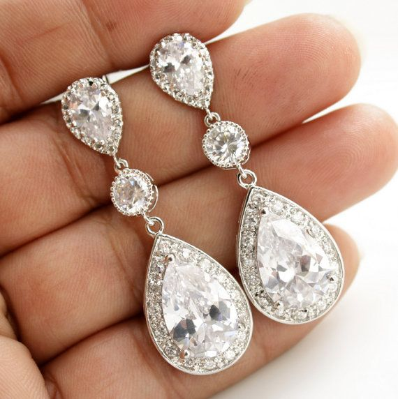 Boucles doreilles cristal mariée bijoux mariage par poetryjewelry