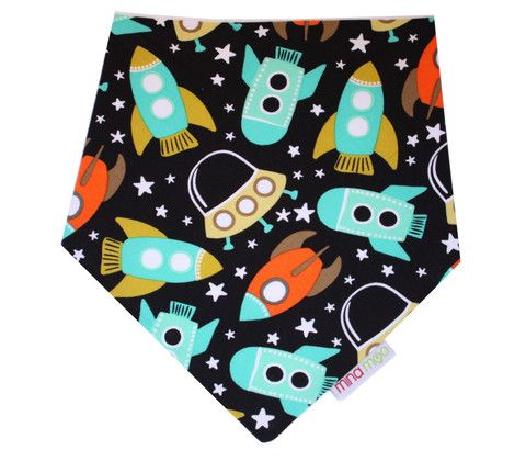 Retro spaceships dribble bandana bib – Mina Moo and Baby