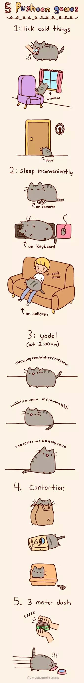 5 Pusheen games, text, Pusheen; Pusheen