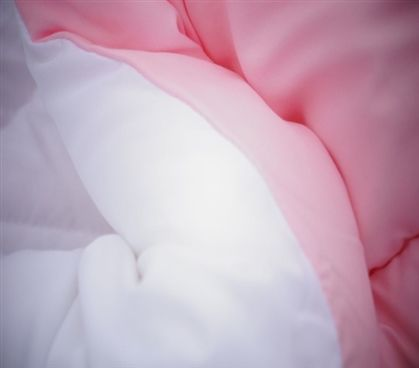 White/Calm Pink Reversible College Comforter - Twin XL Girls Dorm Bedding