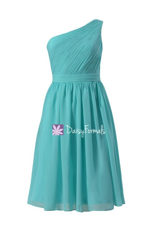 Delicate One Shoulder Chiffon Dress Full A-line Tiffany Blue Bridesmaids Dress (BM10822S)