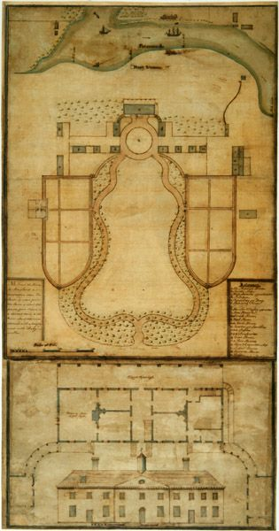 Mount Vernon grounds & home in 1787, drawn by Samuel Vaughan. Don't think I won't try stitching this up at some point! ;)
