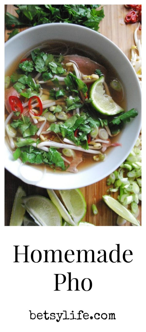 Homemade Pho Recipe: shrimp, purple onion, chives, limes, jalapeño, cilantro, chili flakes, mint (fish or oyster sauce)