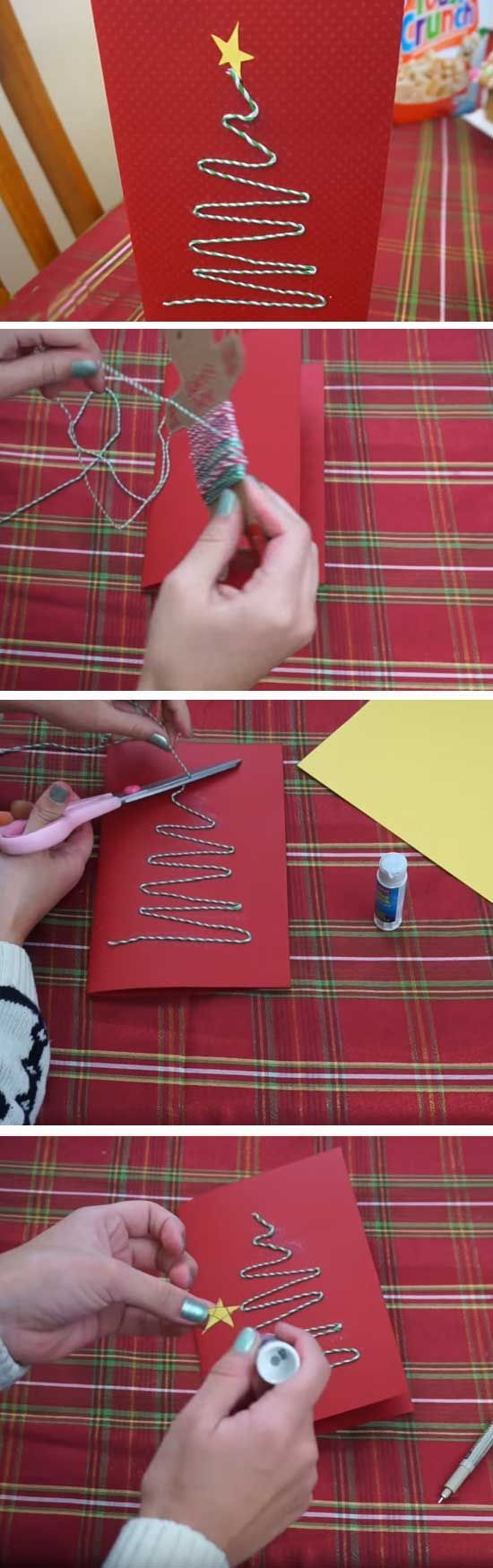 Twine Tree | 20 + DIY Christmas Cards for Kids to Make