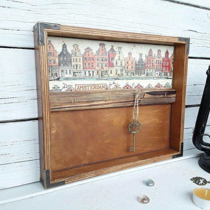 Amsterdam wooden key organizer, loft key holder, decoupage