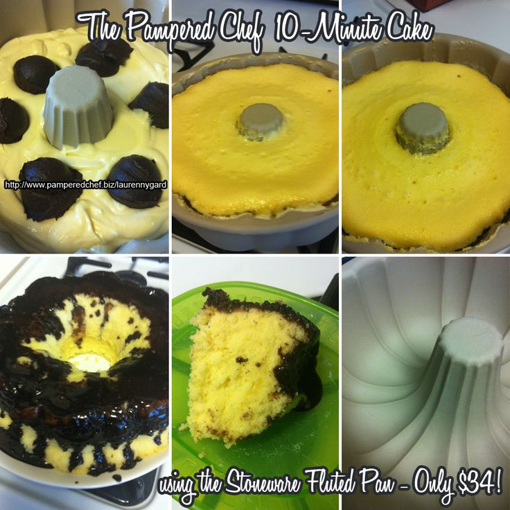 Check out this amazing cake I made in 10 minutes in the microwave yesterday using The Pampered Chef's Stoneware Fluted Pan!! The recipe is SO EASY! Mix one box of cake mix per package instructions, then add 6 Medium Scoops of premade frosting (not a whipped variety) without mixing. Put in the microwave for 10 minutes, then let sit for 10 minutes. The cake will be very tall right as the cooking finishes, then will settle. Turn it out onto your serving platter and ENJOY! :)