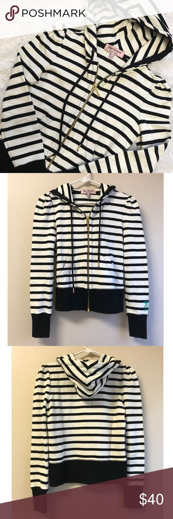 NWOT Juicy Couture 🖤 Striped Zip Up Hoodie Never worn Juicy Couture Black and White Striped zip up hoodie. Thick material perfect for fall or winter. Thicker than a normal zip up. Gold zipper and accents. Juicy Couture Sweaters