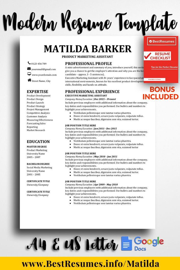 Professional Resume Template Matilda Barker Resume Template