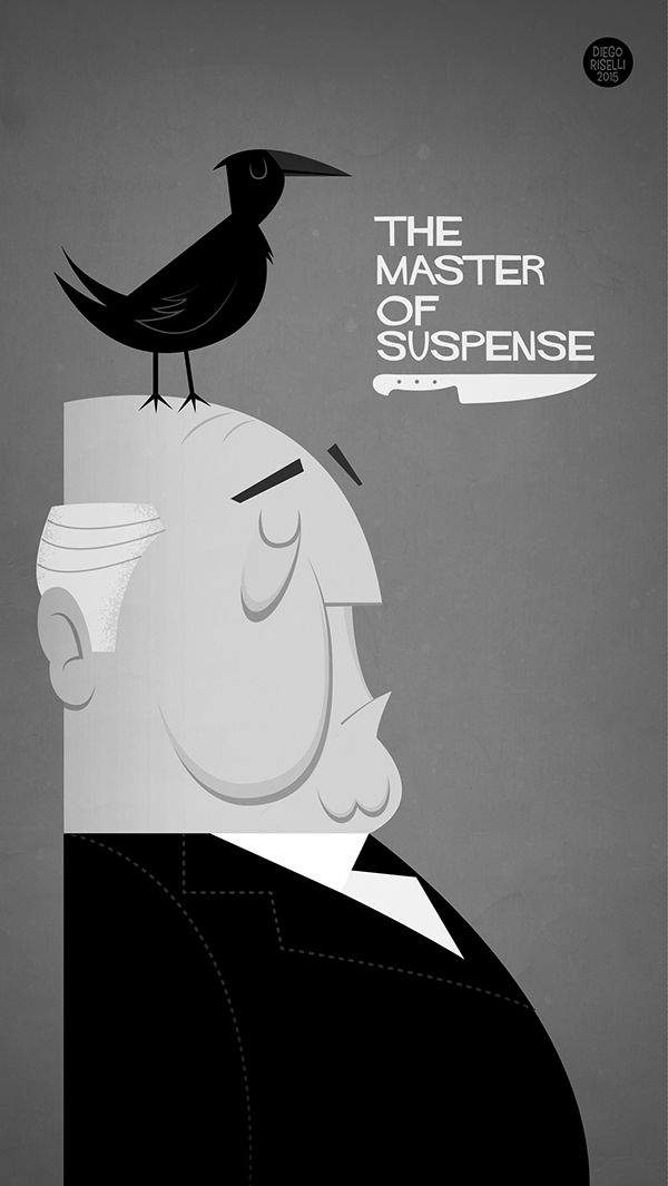 Alfred Hitchcock Poster on Behance (The Birds, Psycho)