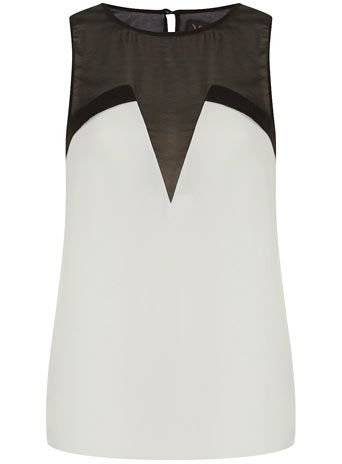 black and white mesh panel top