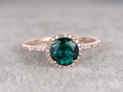 Diamond Halo Emerald Engagement Ring | Dreamy Engagement Rings Under $1000