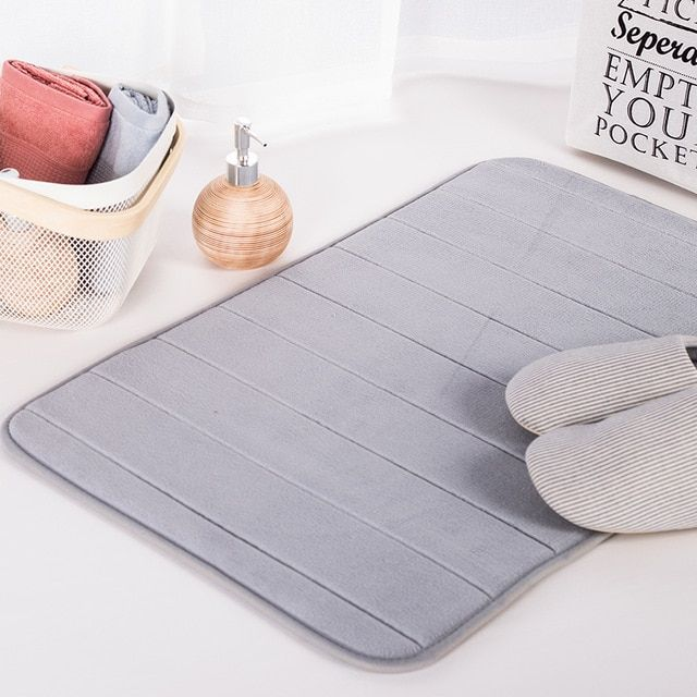 Water Absorption Rug Bathroom Mat Shaggy Memory Foam Bath Mat Set