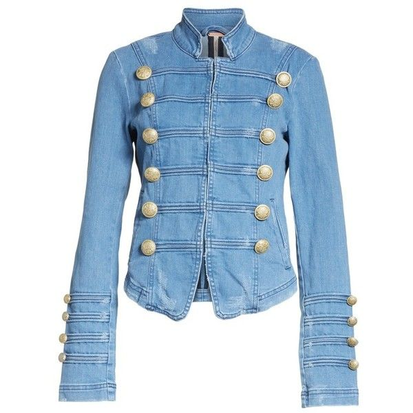 Women's Free People Military Denim Jacket ($128) ❤ liked on